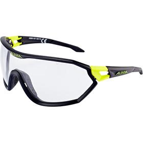 Alpina S-Way VL+ Occhiali, black matt-neon yellow